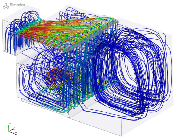 3D CFD Model Airflow Traces