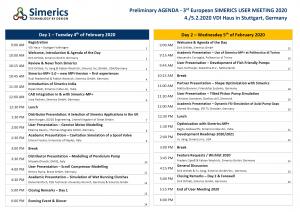 Simerics European User Meeting Agenda